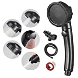 SINGSUO High Pressure Handheld Shower Head with On Off Switch, Detachable Shower Head, 3 Spray Modes Shower Massager Handheld with Hose and Adjustable Angle Bracket (Black)