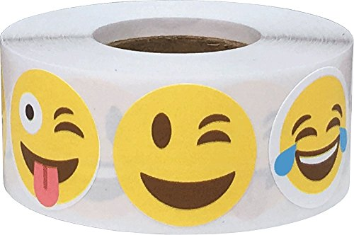 InStockLabels Happy and Fun Emoji Stickers, 1-Inch Adhesive Face Stickers, Pack of 500