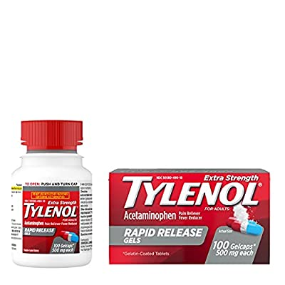 100-count Tylenol Extra Strength Rapid Release Gels with acetaminophen work fast to temporarily relieve minor aches and pains and help reduce fever Each gelcap features unique, laser-drilled holes to quickly release pain medicine and contains 500 mg ...