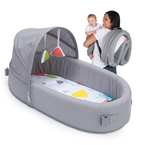 Image of Lulyboo Bassinet To-Go Infant Travel Bed - Baby Lounge Backpack - Combines Crib, Playpen and Changing Station, Metro