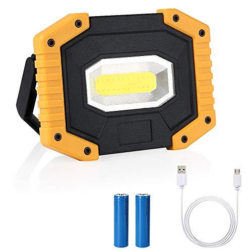 flintronic LED Portatile, 20W&1500LM LED Ricaricabile con Batteria Ricaricabile Integrata 1 Grande COB Lavoro Luce da Campeggio Lamp Impermeabile, 3 Modalit Regolabili