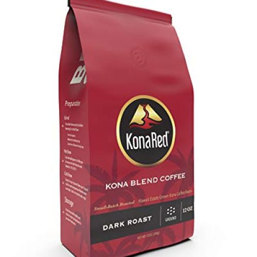 KonaRed Premium Hawaiian Kona Blend Coffee - Ground - Dark Roast, Fat Free, Dairy Free, Sugar Free 10 oz, Smooth and Robust Flavor (10 oz)