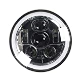 Eagle Lights 7 inch Round Generation III LED Motorcycle Headlight with Halo Ring for Harley Davidson Street Glide, Softail, Road King, Electra Glide, Indian Chief, Chieftain Chrome