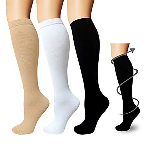 3 paia di calze a compressione da uomo e donna, calzini a compressione, da corsa, sport, volo, viaggi, gravidanza o scopi medici (anti-trombosi)