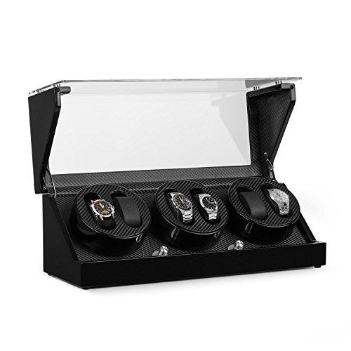 Klarstein CA3PM Uhrenbeweger - Uhrenkasten, Uhrenbox, Uhrendreher, Carbon-Optik, für 6 x Automatikuhr, 4 Bewegungs-Modi, Sichtfenster, Netz- und Batteriebetrieb, laufleise, schwarz