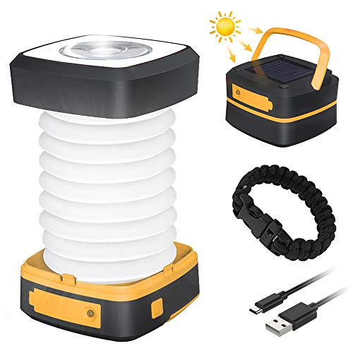 GlobaLink Lampe Lanterne Camping Solaire Pliante Rechargeable 2 en 1...