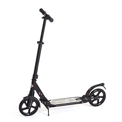Patinete Juvenil Scooter - Rolamento ABEC 11 Rodas de 15 cm Mola de Amortecimento - UniToys (Preto)