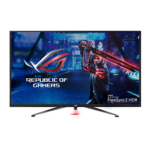 """Asus ROG Strix XG438Q 43"""" Large Gaming Monitor with 4K 120Hz FreeSync 2 HDR Displayhdr 600 90% DCI-P3 Aura Sync 10W Speaker Non-Glare Eye Care with HDMI 2.0 DP 1.4 Remote Control,Black"""