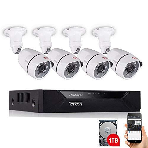 Tonton 8CH Full HD 1080P Video Sorveglianza con 4X Full HD 1080P Resistente alle intemperie giorno notte esterno 1920tvl telecamera IR visione notturna con 1TB Disco rigido