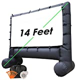 Houseables Outdoor Movie Screen, Inflatable TV, 14', Black, Large, Polyester, Home Theatre, Portable, Motorized, Carrying Case, for Projectors, Camping, Blow Up, Parties, Backyard, Family, with Fan