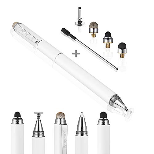 Stylus for Touch Screens - Penyeah DIY [4-in-1] High Sensitivity and Precision Disc Stylus Pen, Universal for iPad, iPhone, Tablets All Capacitive Touch Screens with 4 Replacement Tips - White