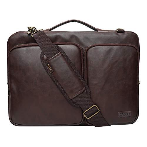 CASE U Laptop Bag 13-14 Inch PU Leather Waterproof Shoulder Messenger Protective Bag - Brown