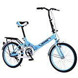 TOUNTLETS Adults Folding Bike 20 Inch Bikes Cycling, Cruiser Bikes Small Bicycle Unisex Ladies Students Ultra Light Portable Women's City Riding Men Mountain Bicycles for Travel Go Working (Blue)