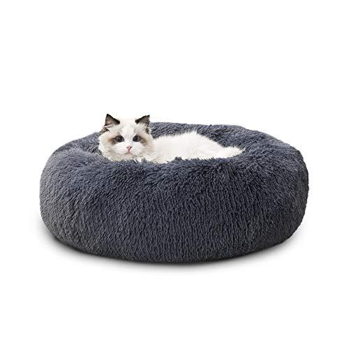 Bedsure Cama Perro Gato Antiestres Redonda - Cama Mascota Relajante Pequeño con Felpa Suave, Cojin Mascota de Pelo Lavable, Gris Oscuro, 50x50cm