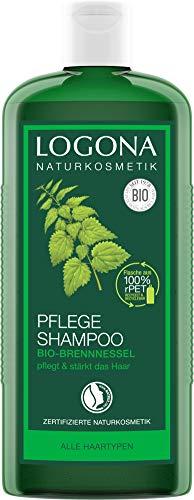 LOGONA Naturkosmetik Pflege Shampoo Bio-Brennnessel, Milde Reinigung für Kopfhaut und Haar, Schenkt Glanz & Frische, Für die ganze Familie & tägl. Anwendung, Natürliche Haarpflege, 500ml