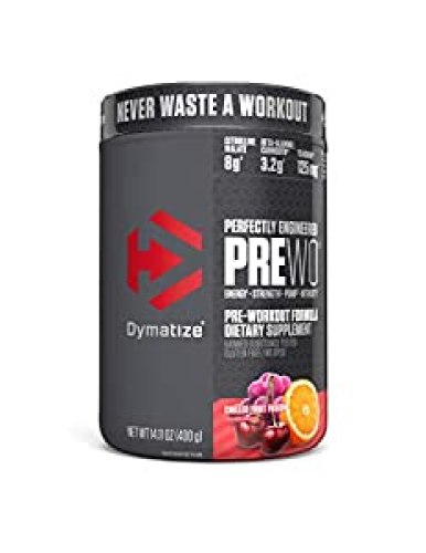 Dymatize PreW.O., Pre Workout Powder with Caffeine, Maximize Energy, Strength & Endurance, Amplify Intensity of Workouts, Chilled Fruit Fusion, 400g