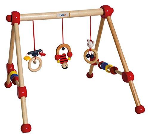bieco Spieltrapez First Gym Holz, buntes Motorikspielzeug für Neugeborene und Kleinkinder ab der Geburt, Spielzeug aus Holz, Activity Center für Babys Entwicklung