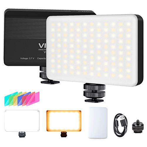 VIJIM VL120 LED on Camera Video Light with Softbox and RGB Color Filters,Mini Rechargeable 3100mAh LED Video Light,Dimmable 3200K-6500K Bi-Color 120 LED Professional Photography Lamp for Vlog Shooting