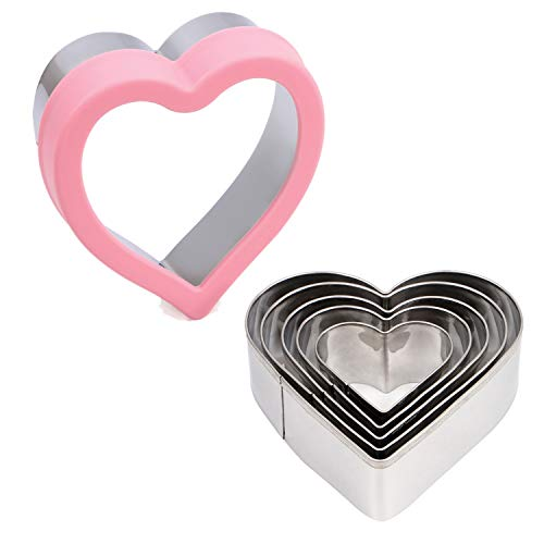 BakingWorld Heart Cookie Cutter Set,6 Piece Heart Shapes Stainless Steel Cookie Cutters Mold for Cakes Biscuits and Sandwiches,1.57'/1.96'/2.36'/2.75'/3.15'/3.63' Assorted Sizes