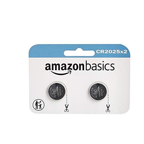 Amazon Basics - Juego de 2 pilas de botón de litio CR2025