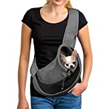YUDODO Reflective Pet Dog Sling Carrier Breathable Mesh Travel Safe Sling Bag Carrier for Dogs Cats (S up to 5lbs Black)