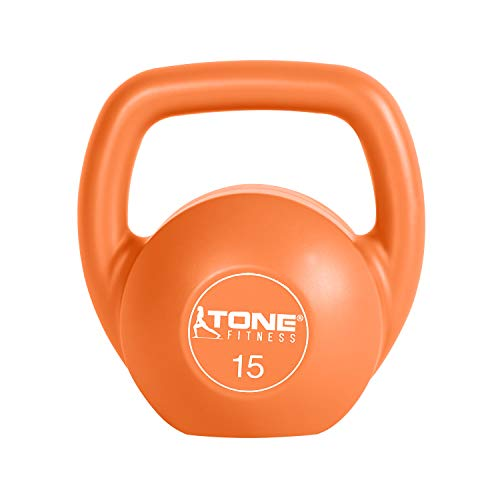 Tone Fitness Vinyl Kettlebell, 15-Pound, Orange