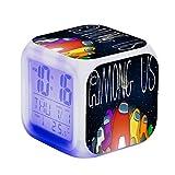 Fangteke Among us Despertador Led Entre Nosotros Figura de Juego Reloj Digital Luminoso Luz de Escritorio de Flash Colorido para Niños Reloj Cuadrado Que Cambia de Color Colorido