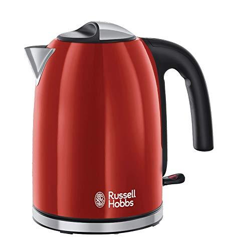 Russell Hobbs Colours Plus Hervidor de Agua Eléctrico - 2400 W, 1,7 litros, Acero Inoxidable, Filtro Extraíble, Rojo - 20412-70
