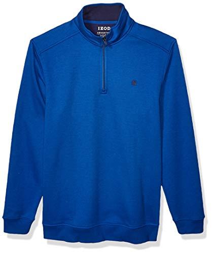 IZOD Men's Big & Tall Big Advantage Performance Quarter Zip Fleece Pullover, True Blue, 3X-Large Tall