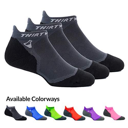 Thirty48 Ultralight Athletic Running Socks for Men and Women with Seamless Toe, Moisture Wicking, Cushion Padding (Medium - Women 7-8.5 // Men 8-9.5, [3 Pairs] Black/Gray)