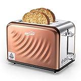 Housmile Grille Pain, en Acier Inoxydable 2 Fentes avec 6 Niveaux de brunissage, Multifonction, Toaster, Décongeler, Réchauffer et Annuler, 900W