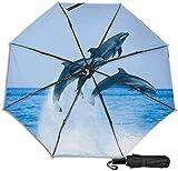 Paraguas de viaje a prueba de viento protección UV (delfines saltando en el agua)