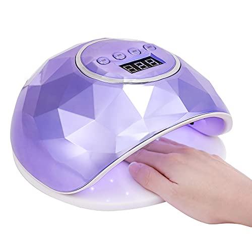 Charites Nail Lamp, 110W UV LED Nail Dryer for Gel Polish with Auto Sensor 4 Timer Settings for Fingernail and Toenail Machine Gel Nail Polish Curing Lamp (Purple)