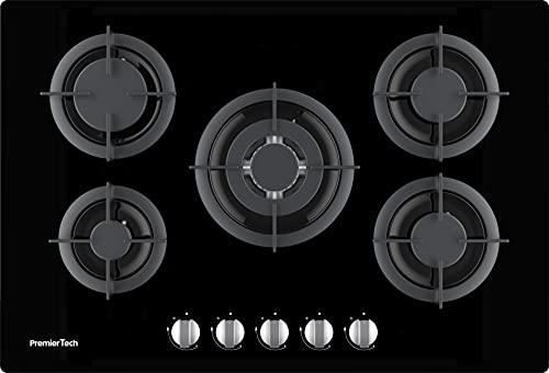 PremierTech PC5G75V Piano cottura a gas 5 fuochi 75cm Vetro Nero