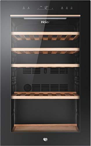 Haier Wine Bank 50 Series 5 Cantinetta Vino Refrigerata, 49 Bottiglie, Luci a LED e Vetro anti UV, Ripiani in Legno, 37 dBa, Libera Installazione, 47 * 58 * 82 cm, Nero