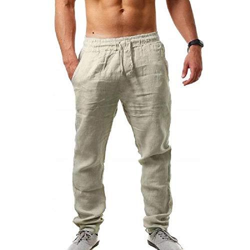 NOBRAND Primavera y Otoño Nuevos Hombres Grande Hip-hop Transpirable Algodón Cáñamo Ocio Pantalones Deportes Pantalones Hombres