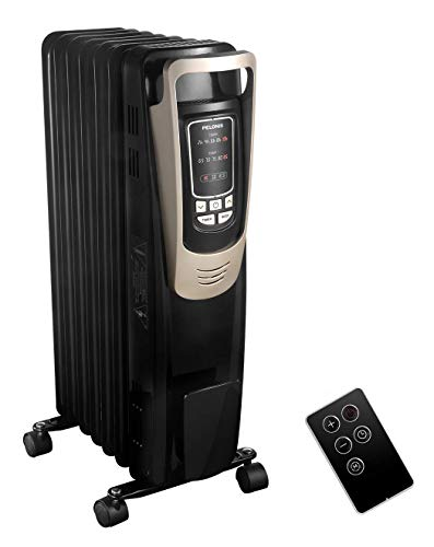 PELONIS 2019 Oil Filled Radiator Heater Luxurious Champagne Portable Space Heater with Programmable Thermostat, 10H Timer, Remote Control, Tip Over&Overheating Functions. Quiet Heater for Home Office
