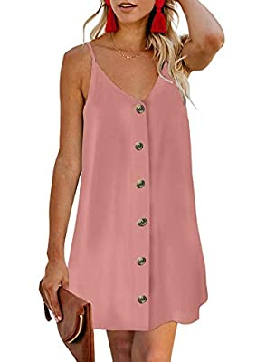 Features: Adjustable Spaghetti Strap, Sexy V Neck, Loose Fit, Sleeveless, Button Down, Solid Color Design Women Cute Mini Dress is Super Soft, Stretchy and Lightweight, Relaxed and Comfortable to Wear. Occasion: casual, shopping, date, street, office...