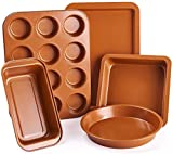 5 Pieces Nonstick Bakeware Set, Premium Coating Professional Carbon Steel Baking Pans Set with Muffin Pan, Loaf Pan, Cookie Sheet, Round and Square Pan Kitchen Baking Tools