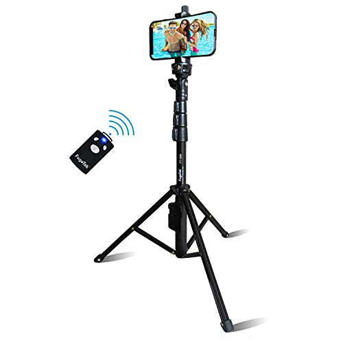 Selfie Stick & Tripod Fugetek, Integrated, Portable All-in-One Professional, Heavy Duty Aluminum, Bluetooth Remote Compatible with Apple & Android Devices, Non Skid Tripod Feet, Extends to 51', Black