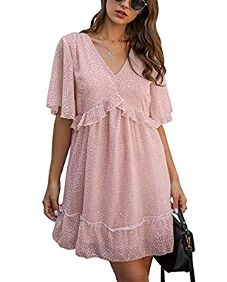 Features: Women's 2021 Summer Dress/ Women's Short Sleeves Dress/ Sexy V Neck Dress/ Floral Print Dress/ High Waist Dress/ with Belt at the waist/ Mini Dress/ Above Knee Length/ Elastic Waist/ Flared Dress/ Ruffle Layer Dress/ Flowy Dress/Dress for w...