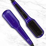 Head Kandy Straightening Brush The One Upper with Tourmaline Infused Ceramic Plating - For All Hair Types: Fine, Thick, Wavy - Anti-Scald Technology - Heats up in only 60 seconds (Purple)