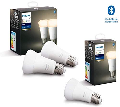 Philips Hue 3 Ampoules LED Connectées White E27 Compatible Bluetooth, Fonctionne avec Alexa