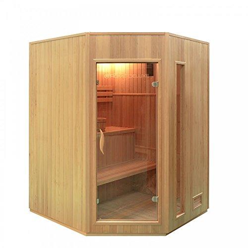 Home Deluxe - Traditionelle Sauna - Relax XL - Holz: Hemlocktanne - Maße: 150 x 150 x 200 cm - inkl. Harvia Saunaofen und komplettem Zubehör