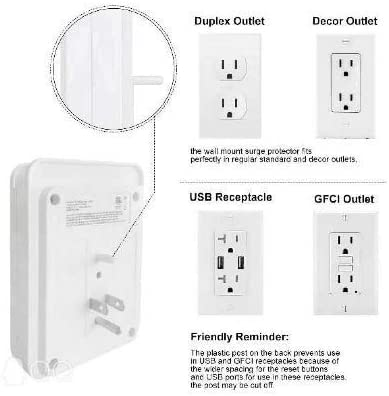 POWRUI Surge Protector, USB Wall Charger with 2 USB Charging Ports(Smart 2.4A Total), 6-Outlet Extender and Top Phone Holder for Your Cell Phone, White, ETL Listed 17
