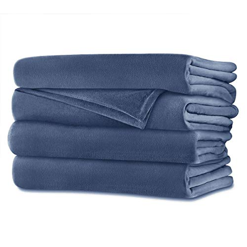 Sunbeam Queen Electric Heated Blanket Luxurious Velvet Plush with Two 20 Heat Settings Digital Controllers and Auto-off Feature - 5yr Warranty (Dusty Blue)