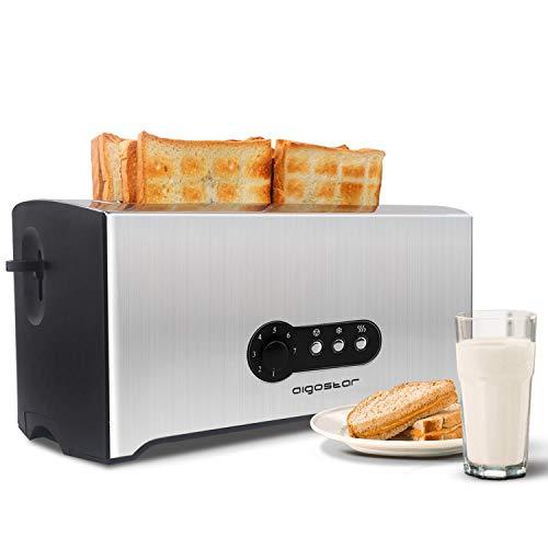 Toaster 4 Scheiben,1600W(7 einstellbare Bräunungsstufe + Auftau- & Aufwärmfunktion)edelstahl/schwarz