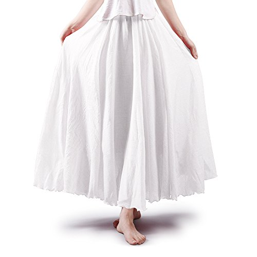 Women's Full Circle Elastic Waist Band Cotton Long Maxi Skirt Dress White 85CM Length