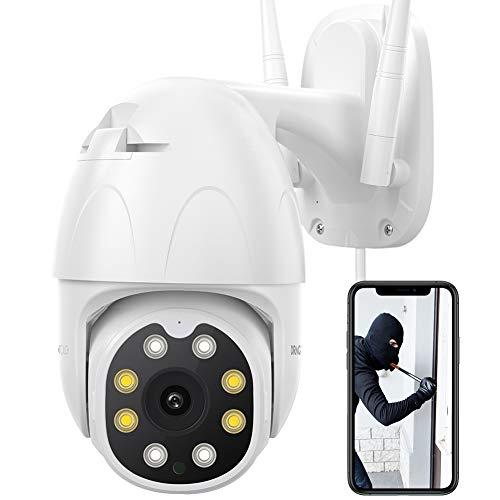 Dragon Touch Videocamera di sicurezza 1080P HD, Telecamera esterna PTZ WiFi per sorveglianza di sicurezza domestica con proiettore, visione notturna, audio bidirezionale, impermeabile (OD10)