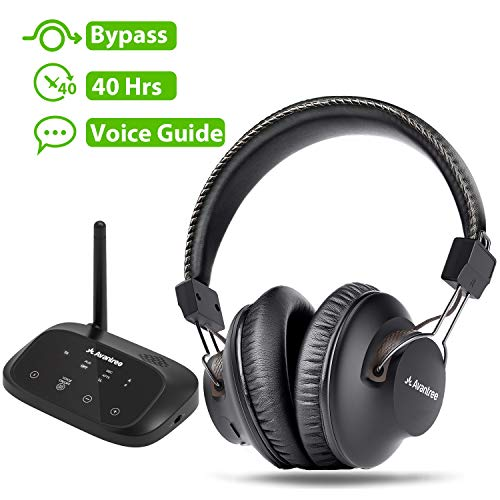 Avantree HT5009 Wireless Headphones for TV Watching w/ Bluetooth Transmitter 164ft Range - Digital OPTICAL RCA AUX, Headset Hearing & Home Stereo Sound Simultaneously, 40Hrs Battery, No Audio Delay